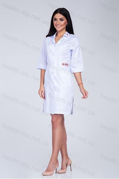 Медицинский халат-модель-3123 (ткань-коттон/белый/вышивка/размер 46,58,60р)