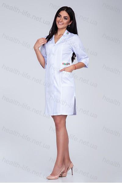 Медицинский халат-модель-3124 (ткань-коттон/белый/вышивка/размер 46,54,56р)