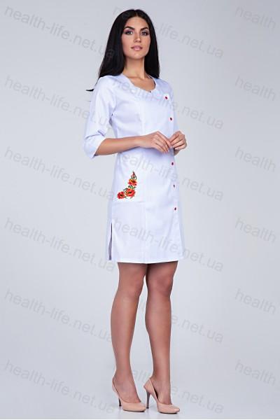 Медицинский халат-модель-3126 (ткань-коттон/белый/вышивка/размер 40-56)