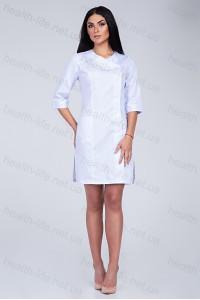 Медицинский халат-модель-3129 (ткань-коттон/белый/вышивка/размер 42-60)