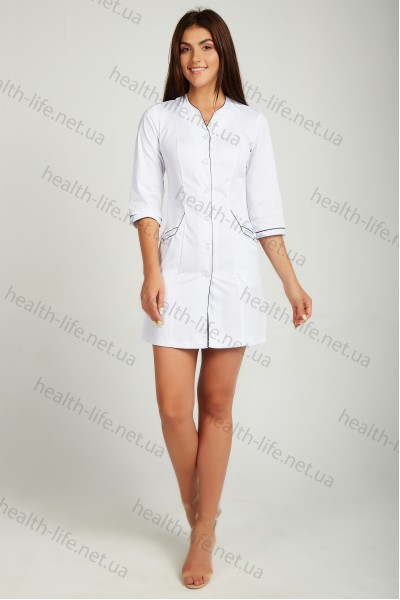 Медицинский халат-модель-21100 (ткань-хб/белый/бордовий кант/размер 42-60)