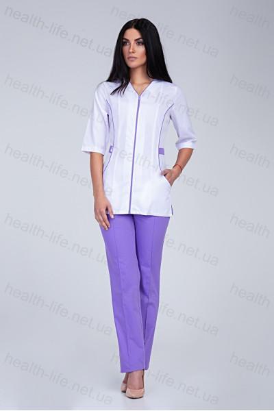 Медицинский костюм-модель-2201 (ткань-х/б/белый/лавандовый/размер 42-56)