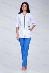 Медицинский костюм-модель-2202 (ткань-х/б/белый/синий/размер 42-60)