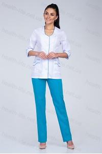 Медицинский костюм-модель-2204 (ткань-х/б/белый/бирюза/размер 44-66)