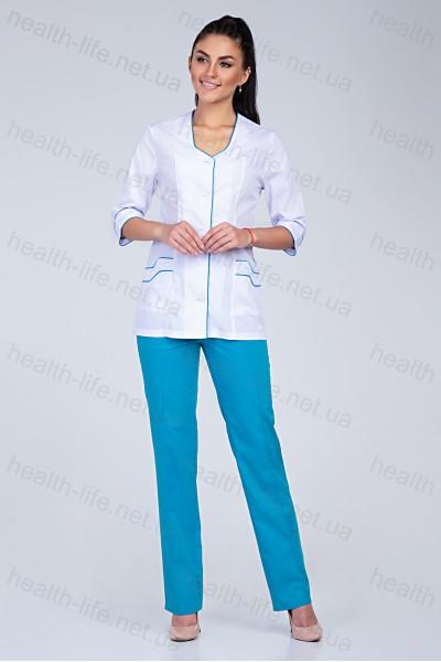 Медицинский костюм-модель-2204 (ткань-х/б/белый/бирюза/размер 40-66)