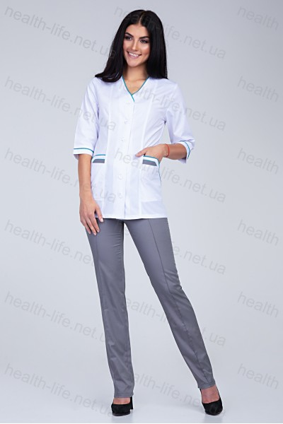 Медицинский костюм-модель-2206 (ткань-х/б/белый/серый/размер 42-66)