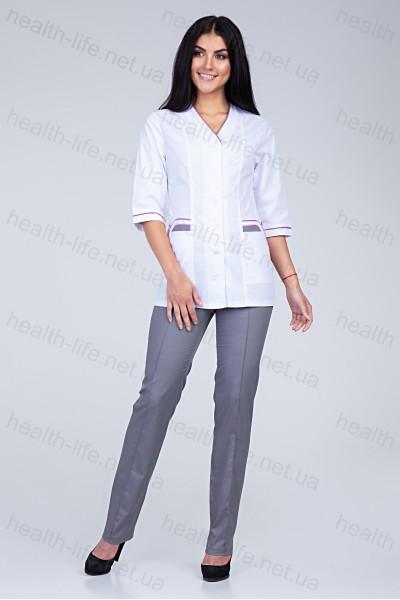 Медицинский костюм-модель-22105 (ткань-х/б/белый/серый/размер 42-74)