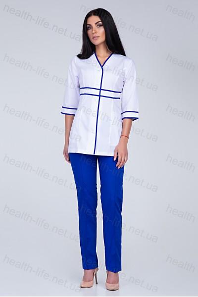 Медицинский костюм-модель-22104 (ткань-х/б/белый/электрик/размер 42-60)