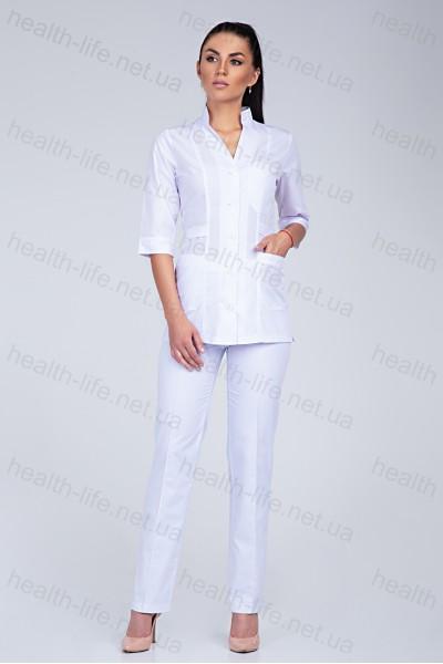 Медицинский костюм-модель-2210 (ткань-х/б/белый/размер 42-58)