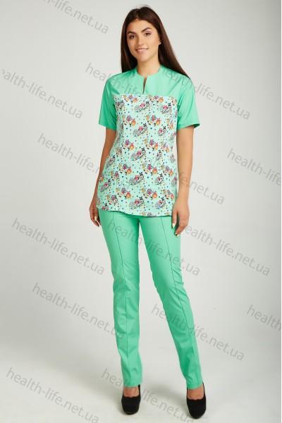 Медицинский хирургический костюм-модель-22100 (ткань-х/б/мятный/рисунок/размер 42-60)