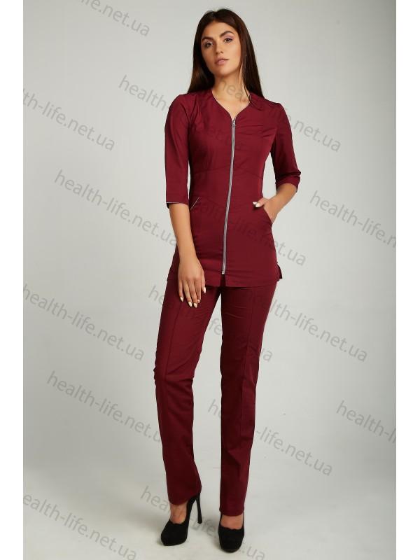 Медицинский костюм-модель-22109 (ткань-х/б/бордовый/размер 42-60)