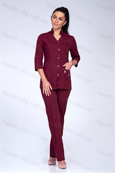 Медицинский костюм-модель-2211 (ткань-х/б/бордовый/размер 42-60)