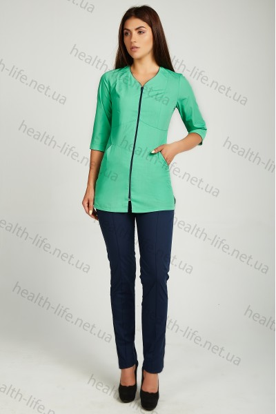 Медицинский костюм-модель-22111 (ткань-х/б/яблоко/темно-синий/размер 42-66)