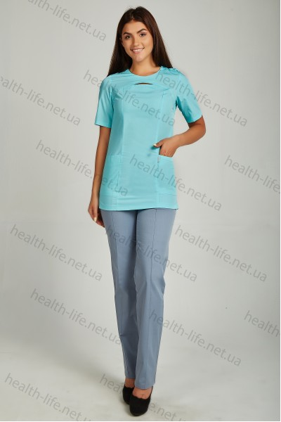 Медицинский хирургический костюм-модель-22112 (ткань-х/б/яблоко/серый/размер 42-66)