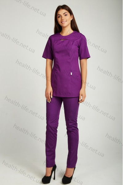 Медицинский хирургический костюм-модель-22113 (ткань-х/б/баклажан/размер 42-66)