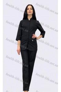 Медицинский  костюм-модель-22121 (ткань-х/б/черный/размер 42-52)