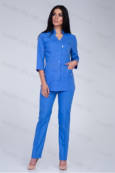 Медицинский костюм-модель-2215 (ткань-х/б/синий/размер 42-66)