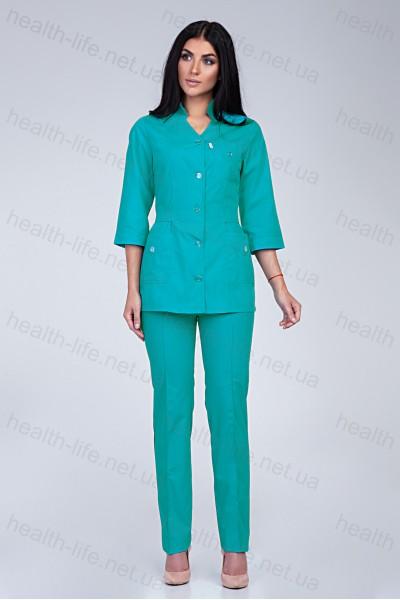 Медицинский костюм-модель-2216 (ткань-х/б/мятный, размер 58,64,66р)