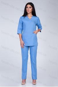 Медицинский хирургический костюм-модель-2219 (ткань-х/б/голубой/размер 42-60)