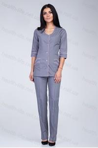 Медицинский костюм-модель-2233 (ткань-х/б/серый/розовая бейка/размер 40-66)