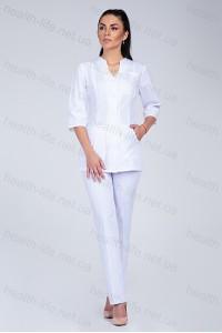 Медицинский костюм-модель-2242 (ткань-х\б/белый/размер 40-60)