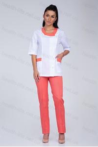 Медицинский костюм-модель-2244 (ткань-х/б/белый/персиковый/размер 40-56)