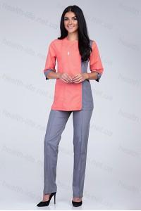 Медицинский костюм-модель-2248 (ткань-х/б/персиковый/серый/размер 40-56)