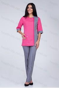 Медицинский костюм-модель-2249 (ткань-х/б/малиновый/серый/размер 40-60)