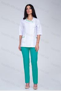 Медицинский костюм-модель-2254 (ткань-х/б/белый/мятный/вышивка/размер 40-56)