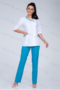 Медицинский костюм-модель-2255 (ткань-х/б/белый/бирюза/вышивка/размер 40-46)