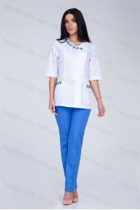 Медицинский костюм-модель-2256 (ткань-х/б/белый/синий/вышивка/размер 40-56)