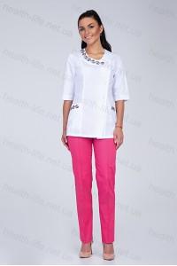 Медицинский костюм-модель-2257 (ткань-х/б/белый/малиновый/вышивка/размер 40-56)