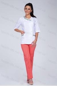 Медицинский костюм-модель-2258 (ткань-х/б/белый/персиковый/вышивка/размер 40-56)..