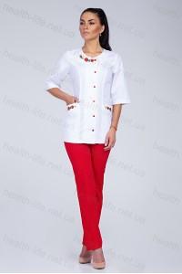 Медицинский костюм-модель-2259 (ткань-х/б/белый/красный/вышивка/размер 40-52)
