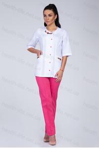 Медицинский костюм-модель-2260 (ткань-х/б/белый/малиновый/вышивка/размер 40-60)