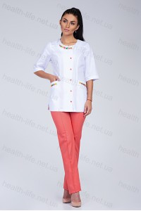 Медицинский костюм-модель-2261 (ткань-х/б/белый/персиковый/вышивка/размер 40-60)..