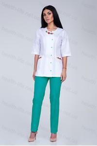 Медицинский костюм-модель-2263 (ткань-х/б/белый/мятный/вышивка/размер 40-60)