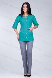 Медицинский костюм-модель-2265 (ткань-х/б/мятный/серый/размер 40-66)