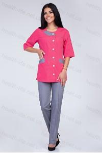Медицинский костюм-модель-2266 (ткань-х/б/малиновый/серый/размер 40-60)