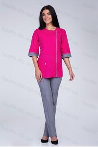 Медицинский костюм-модель-2267 (ткань-х/б/ярко-розовый/серый/размер 40-60)