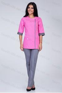 Медицинский костюм-модель-2268 (ткань-х/б/светло-розовый/серый/размер 40-60)