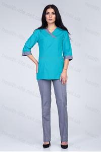 Медицинский хирургический костюм-модель-2269 (ткань-х/б/мятный/серый/размер 42-6..