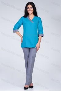 Медицинский хирургический костюм-модель-2270 (ткань-х/б/бирюзовый/серый/размер 4..