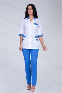 Медицинский костюм-модель-2272 (ткань-х/б/белый/синий/размер 42-66)