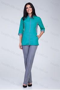 Медицинский костюм-модель-2275 (ткань-х/б/мятный/серый/размер 42-56)