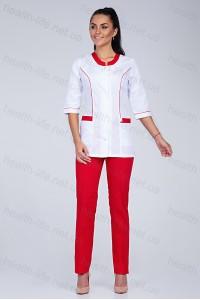 Медицинский костюм-модель-2276  (ткань-х/б/белый/красный/размер 40-56)