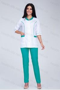 Медицинский костюм-модель-2277  (ткань-х/б/белый/мятный/размер 40-66)