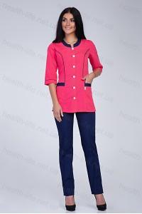 Медицинский костюм-модель-2281 (ткань-х/б/малиновый/темно-синий/размер 40-60)
