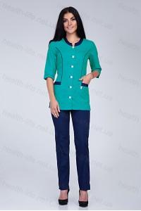 Медицинский костюм-модель-2282 (ткань-х/б/мятный/темно-синий/размер 40-66)