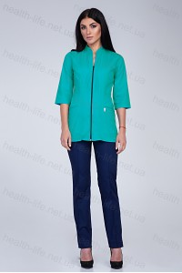 Медицинский костюм-модель-2284 (ткань-х/б/мятный/темно-синий/размер 42-56)